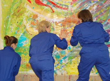 Teamevent beim Action Painting